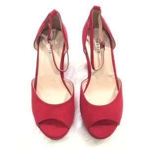 Torrid Red Faux Suede Open Toe Wedges